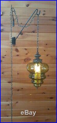 Vtg MCM Retro Atomic Green Glass Hanging Swag Light/Lamp