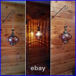 Vtg MCM Retro Fushia/Mauve Carnival Glass Hanging Swag Light/Lamp
