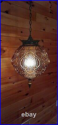 Vtg MCM Retro HUGE Hanging Swag Light/Lamp Amber Glass 3D Design