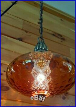 Vtg MCM Retro Hanging Mini Swag Light/Lamp Amber Rootbeer Glass Coinspot Design