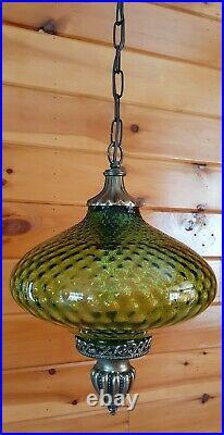 Vtg MCM Retro Hanging Mini Swag Light/Lamp Green Glass Coinspot Design