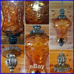 Vtg MCM Retro Hanging Swag Light/Lamp Amber Rootbeer Glass Coinspot Design