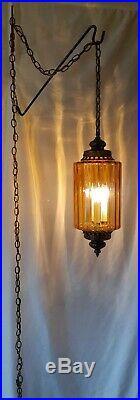 Vtg MCM Retro Hanging Swag Light/Lamp Amber Rootbeer Glass Design