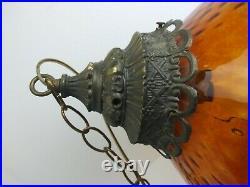 Vtg MCM Retro Hanging Swag Light/Lamp Amber Rootbeer Glass Dimple Coin Spot Ptrn