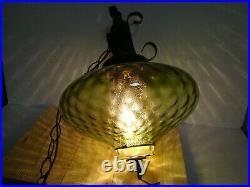 Vtg MCM Retro Hanging Swag Light/Lamp Green Glass Coinspot Design