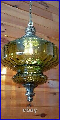 Vtg MCM Retro Hanging Swag Light/Lamp Green Stripe Glass Design