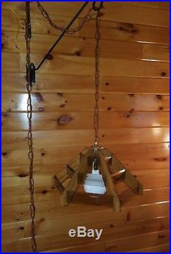 Vtg MCM Retro Pendant Smoked Glass Panel Wood Hanging Swag Light Lamp