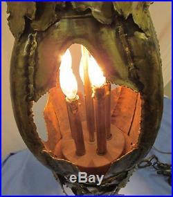 Vtg MCM Tom Greene Feldman Brutalist Hanging Lamp Hollywood Regency Jere