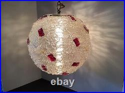 Vtg MID Century Chunk Lucite Rock Candy Spaghetti Hanging Swag Lamp Light Works