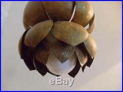 Vtg MID Century Feldman Brass Lotus Tiny Petite Chandelier Hanging Swag Lamp
