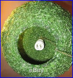 Vtg MID Century Green Spaghetti Spun Lucite Hanging Swag Lamp Globe Light Vgc