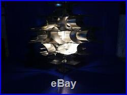 Vtg Max Sauze for Lightolier MCM Aluminum Ribbon Pendant Chandelier Hanging Lamp