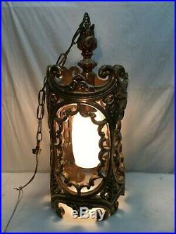Vtg Mid Century Bohemian Hanging Glass Shade Lamp Light Gothic Church syorco