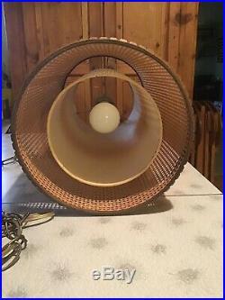 Vtg Mid Century Danish Double Shade Teak Hans Werner Hanging Swag Light Lamp