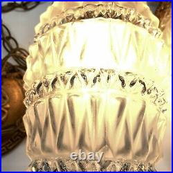 Vtg Mid-Century Glass Hanging Ceiling Light Fixture Double Pineapple Swag Lamp