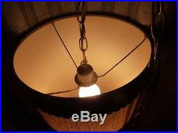 Vtg Mid Century Mod Hanging Swag Pendant Lamp withstained glass effect Hans Wegner