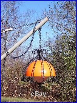 Vtg Mid Century Modern Black Wrought Iron Orange Dome Swag Lamp Hanging Light