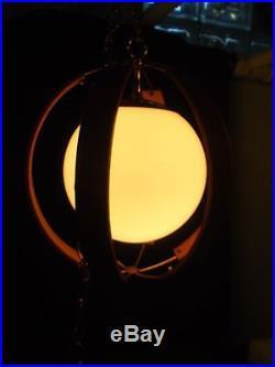 Vtg Mid Century Modern Danish Modern Hanging Teak Brass Glass Orb Swag Lamp