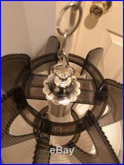Vtg Mid Century Modern Grey Lucite Nylon String Hanging Ceiling Light Swag Lamp