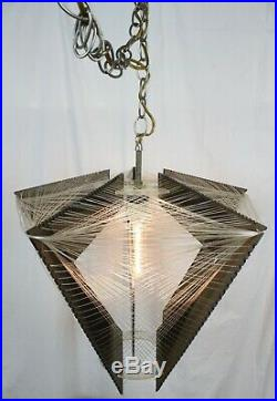 Vtg Mid Century Modern Light Fixture Pendant Hanging Lamp Acrylic Atomic Plug In