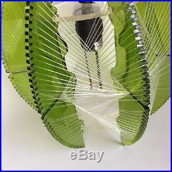 Vtg Mid Century Modern Mod Green Lucite Swag Lamp String Woven Light Hanging