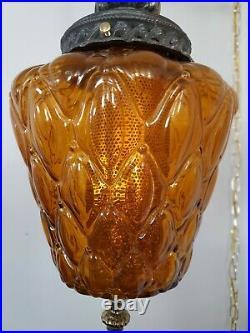 Vtg Mid Century Modern SWAG hanging Lamp Amber Glass & Brass 17