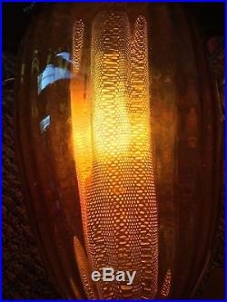 Vtg Mid Century Ornate Hanging Chain Shade Large Glass Lamp