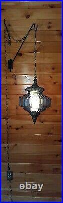 Vtg Mid Century Retro Hanging Swag Light/Lamp Blue Glass Design