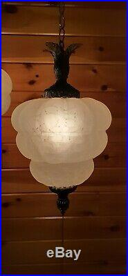 Vtg Mid Century Retro Hanging Swag Light/Lamp Frosted Crackle Glass 2 Available
