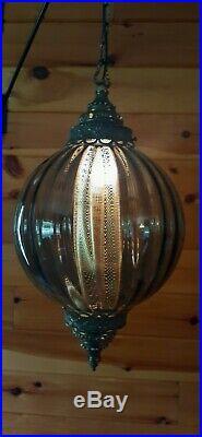 Vtg Mid Century Retro Hanging Swag Light/Lamp Smoked Glass Design