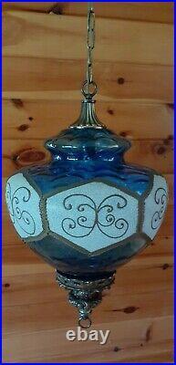 Vtg Mid Century Retro Wavy Blue Designer Glass Hanging Swag Light/Lamp