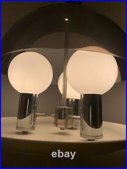 Vtg Mid Century Space Age Lucite Acrylic Chrome Color Hanging Lamp