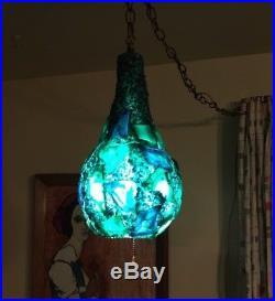 Vtg Mid Century Swag Lamp Blue Green Hanging Light CHUNKY Lucite Plastic Gourd