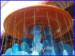 Vtg Mid Century Turquoise Capiz Shell Hanging Swag Lamp 60 Teak Wood Top 1960