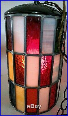 Vtg Mod Swag Lamp 48 Stained&slag Glass Panels Leaded Hanging Light MID Century