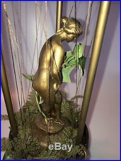 Vtg Oil Rain Hanging Lamp Bronze Nude Greek Goddess Pillar WORKS