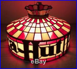 Vtg Original Pizza Hut Retro Hanging Tiffany Style Lamp Light Fixture Chandelier