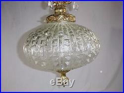 Vtg Ornate Clear Glass Goldtone Hollywood Regency Swag Lamp Plug Hanging Light