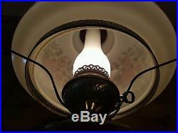 Vtg Quoizel GWTW Rose Glass Shade Hurricane Hanging Swag Lamp Light Chandelier