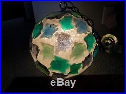 Vtg Rare HTF Mid Century Large Lucite CHUNK Hanging Swag Lamp Light NICE