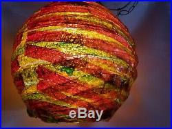 Vtg Rare MCM Huge Chunky Red Orange Lucite Spaghetti Hanging Lamp MID Century