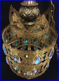 Vtg Regency Loevsky Swag Light Aurora Borealis Prism Gold Ormolu Hanging Lamp