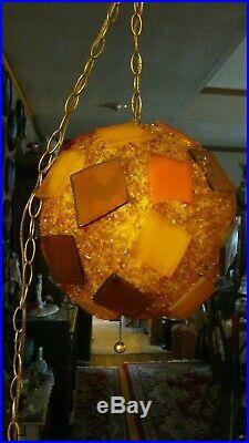Vtg Retro Atomic Chunky Orange and Yellow Lucite Hanging Swag Lamp Light
