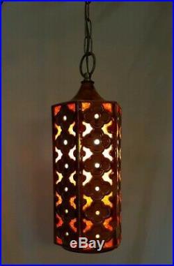 Vtg Retro Ceramic Orange Brown Red Lucite Hanging Swag Light Fixture/Lamp