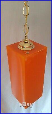 Vtg Retro Orange Glass Hanging Swag Light Fixture/Lamp