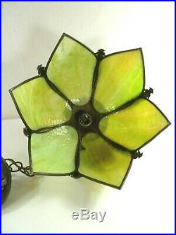 Vtg Retro Stained Slag Glass Hanging Swag Lamp Light Fixture Olive Green Tulip