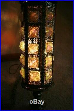 Vtg Retro Swag Lamp Mid Century Modern Gold Chunky Hanging Gold Pineapple Light