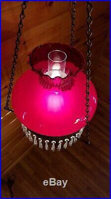 Vtg Ruby Red Crystal Hurricane GWTW Chandelier Hanging Swag Light Lamp