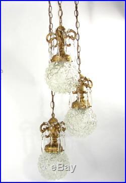 Vtg SWAG CRYSTAL CHANDELIER Triple Hanging Lamp Antique Gold Hollywood Regency