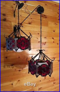 Vtg Set Atomic Retro Gothic Red Lava Glass Hanging Moe Light Lamp Fixtures (3)